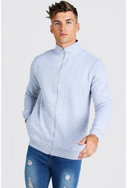 Mens Grey Funnel Neck Zip Through Sweater