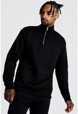 Mens Black MAN Signature Loose Fit Drop Shoulder Sweater