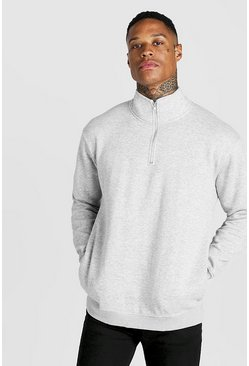 Mens Grey MAN Signature Loose Fit Drop Shoulder Sweater