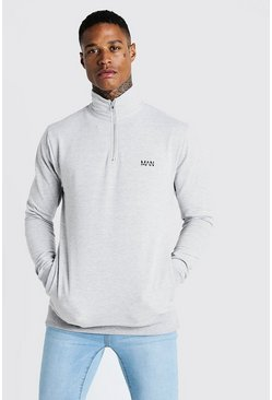 Mens Grey Original MAN Muscle Fit Funnel Neck 3/4 Zip Sweat