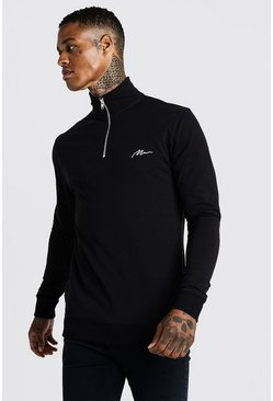 Mens Black MAN Signature Muscle Fit Funnel Neck 3/4 Zip Sweat