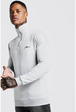Mens Grey MAN Signature Muscle Fit Funnel Neck 3/4 Zip Sweat