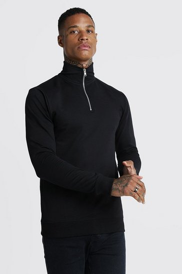 Mens Black Muscle Fit Funnel Neck 3/4 Zip Sweatshirt
