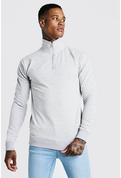 Mens Grey Muscle Fit Funnel Neck 3/4 Zip Sweatshirt