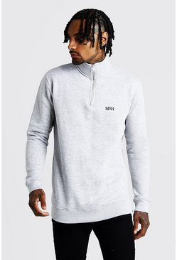 Mens Grey Original MAN Funnel Neck 3/4 Zip Sweatshirt