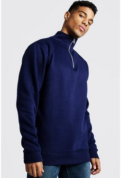Mens Navy Funnel Neck 1/4 Zip Sweatshirt