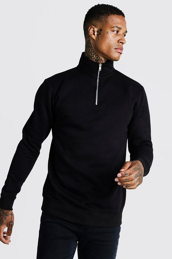 Black Funnel Neck 1/4 Zip Sweatshirt