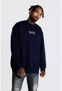 Mens Navy Original MAN Oversized Fleece Sweatshirt