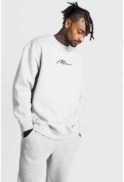 Herr Grey MAN Signature Oversized Fleece Sweatshirt