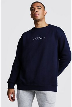 MAN Signature Oversized Fleece-Sweatshirt, Marineblau, Herren
