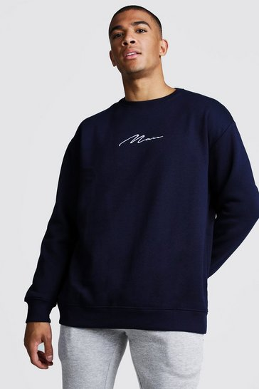 Mens Navy MAN Signature Oversized Fleece Sweatshirt