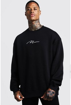 MAN Signature Oversized Fleece-Sweatshirt, Schwarz