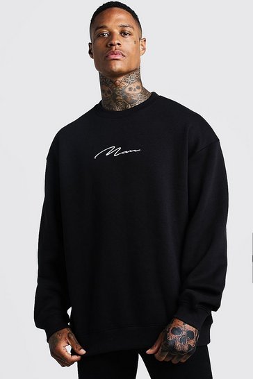 Mens Black MAN Signature Oversized Fleece Sweatshirt