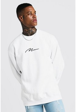 White MAN Signature Oversized Fleece Sweatshirt