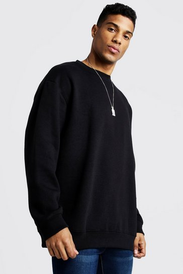 Mens Black Oversized Crew Neck Fleece Sweatshirt
