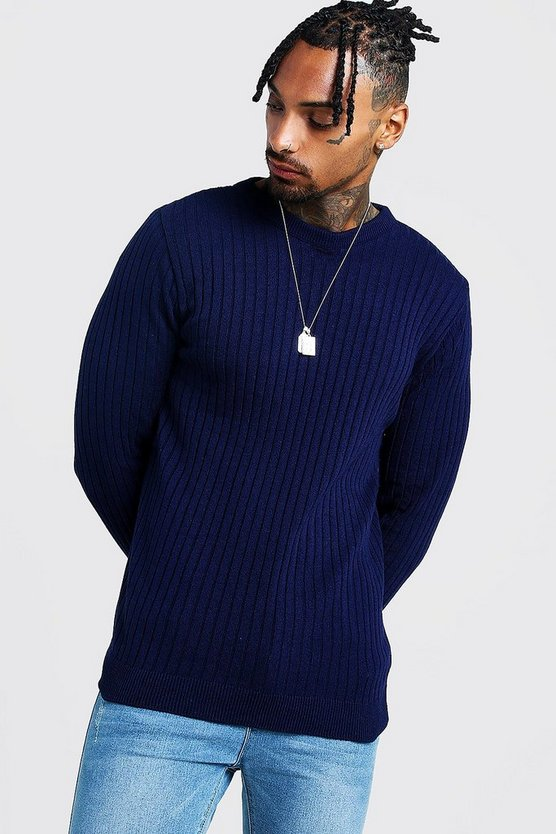 Navy Muscle Fit Long Sleeve Ribbed Crew Neck Jumper