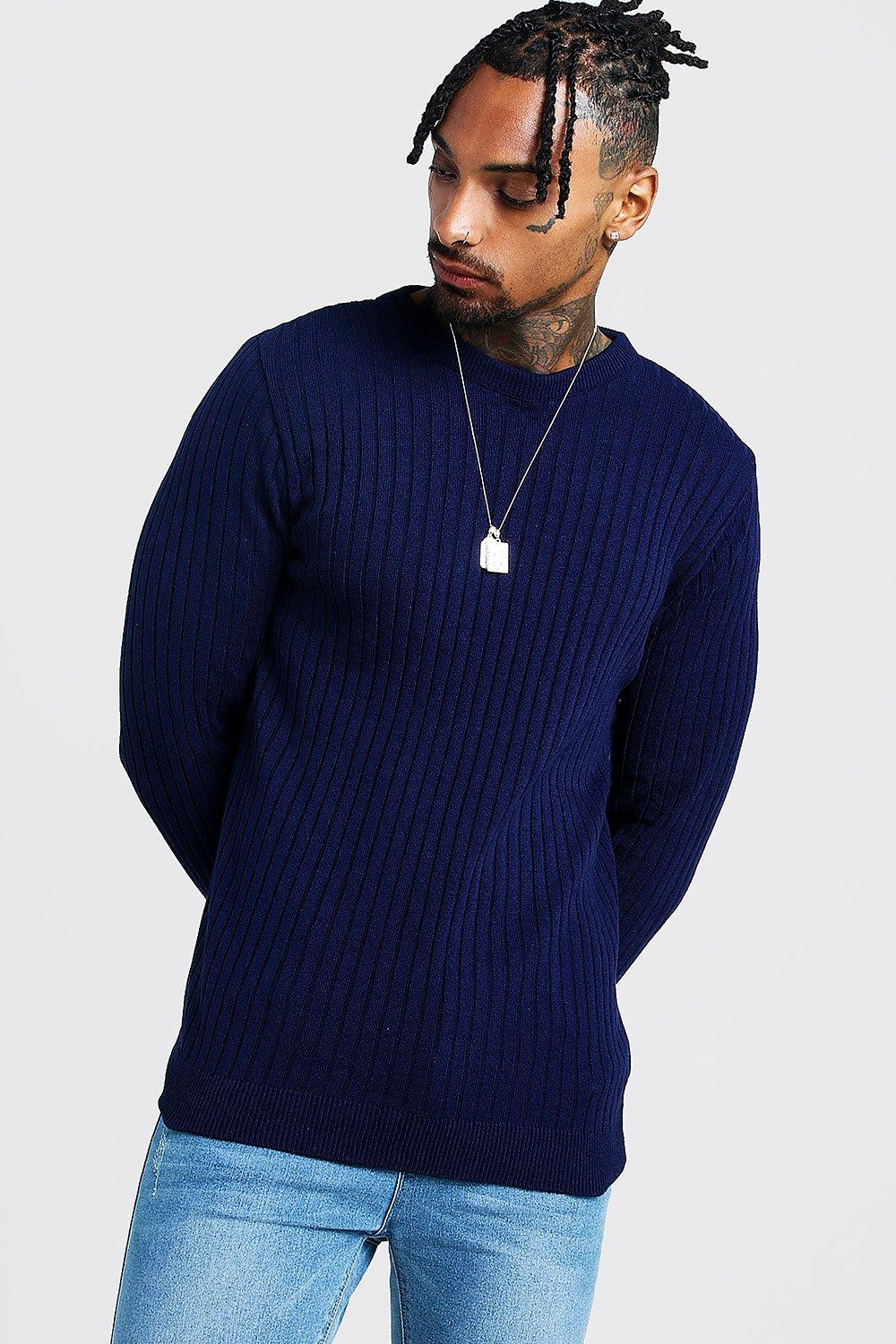 Muscle Fit Long Sleeve Ribbed Crew Neck Jumper | Boohoo