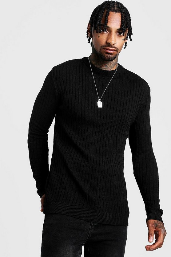 Mens Black Muscle Fit Long Sleeve Ribbed Crew Neck Jumper