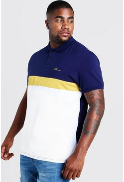Mens Navy Big & Tall MAN Colour Block Polo