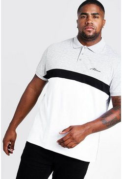 Mens Grey marl Big & Tall MAN Colour Block Polo