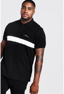 Mens Black Big & Tall MAN Colour Block Polo