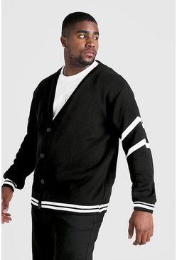Mens Black Big & Tall Varsity Arm Stripe Knitted Cardigan