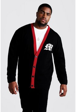 Mens Black Big & Tall Gothic M Knitted Varsity Cardigan