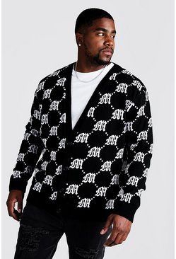 Dam Black Big & Tall - Stickad cardigan med gotiskt M-mönster