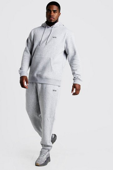 Mens Grey marl Big and Tall MAN Dash Hooded Tracksuit