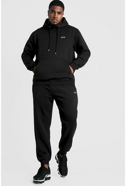 Mens Black Big and Tall MAN Dash Hooded Tracksuit