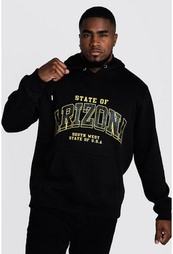 Mens Black Big & Tall Arizona Print Hoodie