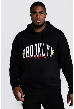 Black Big & Tall Brooklyn Printed Hoodie
