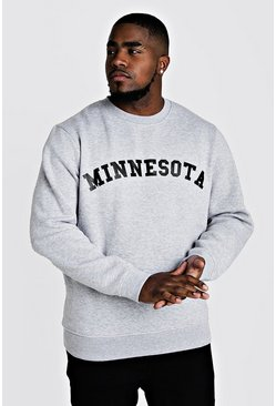 Mens Grey marl Big & Tall Minnesota Print Sweater