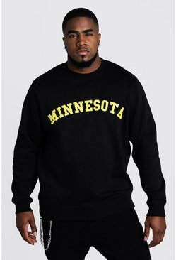 Mens Black Big & Tall Minnesota Print Sweater