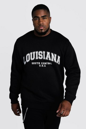 Mens Black Big & Tall Louisiana Print Sweater