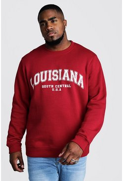 Big & Tall Pullover mit Louisiana-Print, Rot, Herren
