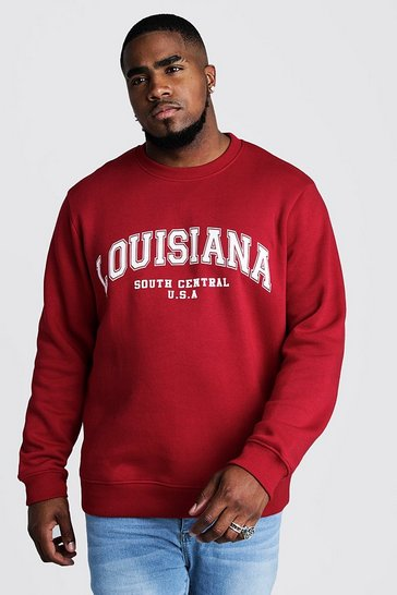 Mens Red Big & Tall Louisiana Print Sweater