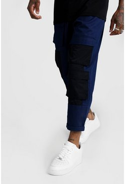 Mens Navy Panel Detail Cargo Trouser
