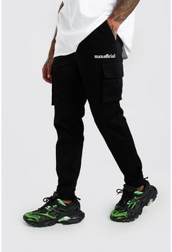 Mens Black MAN Official Print Cargo Trouser