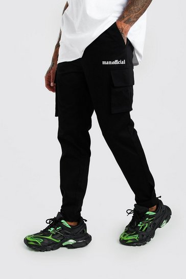 Black MAN Official Print Cargo Trouser