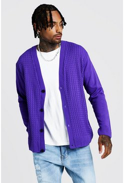 Mens Purple Loose Fit Cable Knitted Cardigan