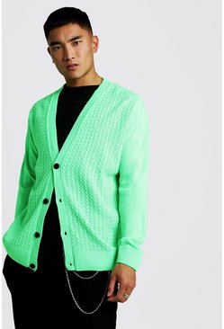 Neon-green Loose Fit Cable Knitted Cardigan