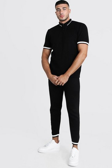 Mens Black Regular Fit Knitted Polo & Jogger Set