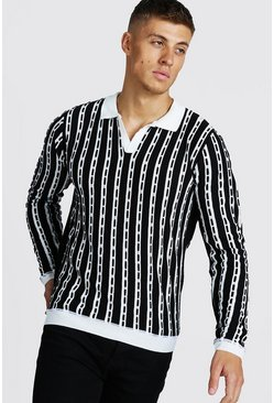 Black Regular Fit Long Sleeve Collar Knitted Polo