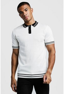 Herr Cream Muscle Fit Short Sleeve Knitted Polo