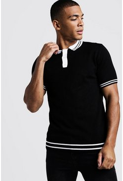 Mens Black Muscle Fit Short Sleeve Knitted Polo