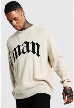 Mens Taupe Oversized Gothic MAN Knitted Jumper