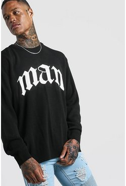 Black Oversized Gothic MAN Knitted Jumper