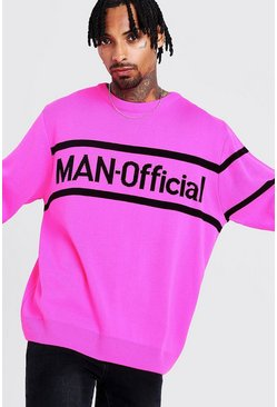 Mens Pink MAN Oversized Official Knitted Jumper