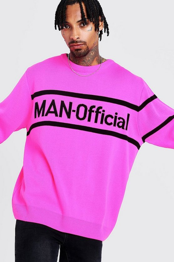 Man Oversized Official Knitted Jumper by Boohoo